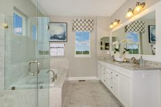 luxurious owner's bath in our Columbia model at Eastchurch Baths For Sale, Night Time Routine, New Home Communities, Dream Bathrooms, Bubble Bath, New Homes For Sale, Real Estate Marketing, Double Vanity, Building A House