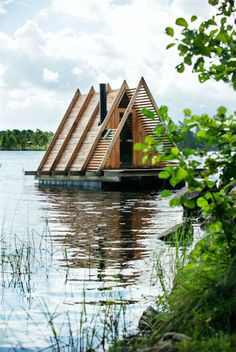 Stedsans, Sverige time i bil fra København) A Frame Cabin, A Frame House, Small Houseboats, Cabana, Fire Pit Gallery, Floating Architecture, Farm Stay, Floating House, Forest House