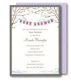 Baby Bird in Winter Baby Shower Invitation