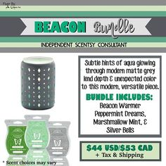 SCENTSY BEACON BUNDLE: Combine & Save - Scentsy System = $30 warmer + 3 Scent Bars