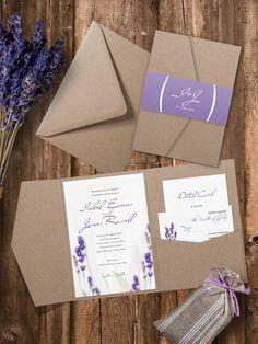 Eco Kraft Pocket Fold Lavender Wedding by PaperCharmStore on Etsy