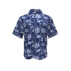 DIY Aloha Shirt made with Spoonflower designs on Sprout Patterns. Feel cooler in this indigo and white Hawaiian ferns and flowers aloha shirt.  Fabric ID = 5163026 from the Aloha Shirts Batik collection by Indian River Textiles. #alohashirt