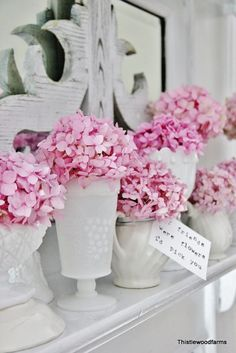 hortensias roses. Idée pour déco table ou buffet.