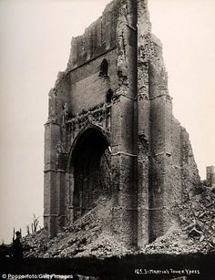 War of attrition: The destruction was caused by Allied and German forces which tried to shell each other into submission with little success ~ World War I