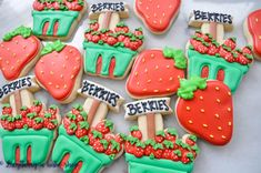 "Strawberry ""Berry Patch"" Iced Sugar Cookies created by ""LucyBerry A Bake Shop"" featured on TheIcedSugarCookie.com #cookies #sugarcookies #decoratedcookies #theicedsugarcookie #icedsugarcookies #strawberrycookies #strawberryparty #berryparty"