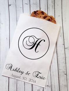 Wedding Candy Bags Monogram Buffet Bar Favor Personalized Custom Treat Pkg Of 25