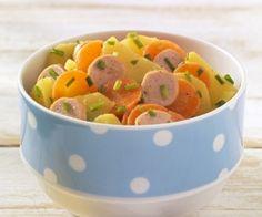 FÜR ESSANFÄNGER (AB 1 JAHR): Kartoffel-Möhrensalat mit Würstchen