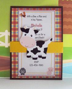Farm Birthday Invitation ,Barnyard Invitation $25 per dozen