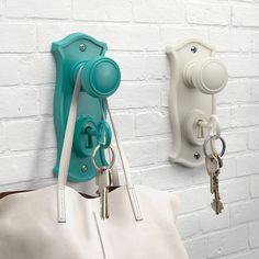 Oh my gosh, I think I love this bag hook and key holder a little too much. (The key in the lock is the keychain on your real keys.) Comes in several colors.