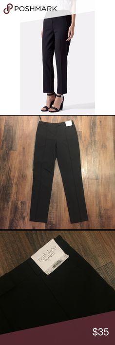 "TopShop Cigarette Pants (Reg) TopShop Cigarette Pants (reg).  28.5"" inseam, 13"" leg opening, 9.5""front rise, 15"" back rise.   Side pockets, hook and eye closure.  74% polyester, 20% Viscose, 6% elastane.  NWT.  UK size 6, US size 2. Topshop Pants Ankle & Cropped"