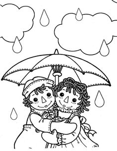 Raggedy Ann and Andy Under Umbrella in the Rain Coloring Page - NetArt