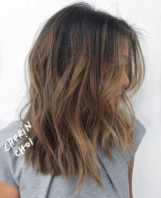 Top saved idea in medium-length hair is textured cuts with balayage.