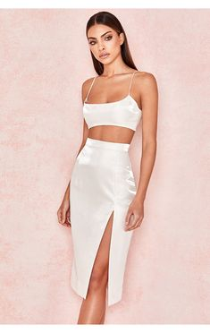 Women's Fashion: Shop Luxe Party Dresses, Designer Shoes & More. The world's one-stop shop for super chic party dresses, must-have shoes, statement jewellery and more - ALL designed in London. Side Split Dress, Split Skirt, Crop Top Outfits, Skirt Outfits, Crop Top Elegante, White Skirt Suit, Skirt And Top Set, Formal Skirt And Top, New Years Eve Outfits