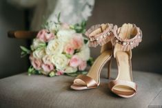 Mauve blush pink satin wedding shoes | strap heeled sandals with jeweled ruffle ankle strap {GGGPHOTO}
