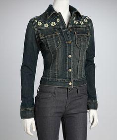 Look at this #zulilyfind! Dark Blue Embroidered Daisy Denim Jacket by Memphis Blue Jeans #zulilyfinds