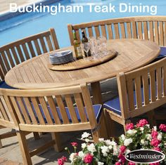 4 Living's range of Westminster garden furniture includes teak and woven tables, chairs, parasols and sun loungers. Round Garden Table, Round Outdoor Dining Table, Large Round Table, Garden Table And Chairs, Patio Table, Picnic Tables, Garden Benches, Garden Furniture, Outdoor Furniture Sets