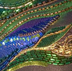 "Beautiful production of Monique van Munster with Atelier ""BY MONIQUE"". Wonderful glitters, beads and luneville handmade work made out of peacock colours. #friedfreres #paris #frieduser #luneville #glitters #beads #handmade #blue #green #inspiration #embroidery"