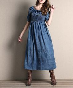 This Blue Off-Shoulder Chambray Maxi Dress is perfect! #zulilyfinds