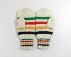 Hand Knitted Mittens. canada. hudson bay blanket. colours hudson's