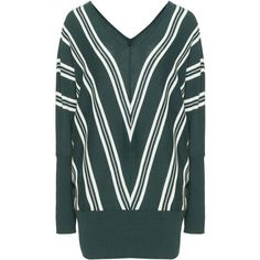 Zizzi Dark-Green / Cream Plus Size Striped jumper ($56) ❤ liked on Polyvore featuring tops, sweaters, plus size, plus size sweaters, plus size tops, v-neck sweater, plus size long sleeve tops and womens plus size sweaters
