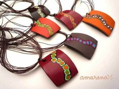 collier fimo - love the shape of thses.