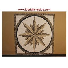 "TYLER, 36"" Square Mosaic Medallion - Polished - MedallionsPlus.com - Floor Medallions on Sale. Tile, Mosaic, & Stone Inlays."