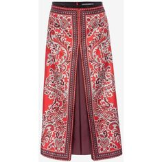 Alexander McQueen Paisley Print Box Pleat Skirt ($1,145) ❤ liked on Polyvore featuring skirts, red paisley skirt, paisley skirt, below the knee skirts, red skirt and twill skirt