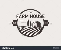 Farm House Concept Logo. Template With Farm Landscape. Label For Natural Farm Products. Black Logotype Isolated On White Background. Vector Illustration. - 376620829 : Shutterstock