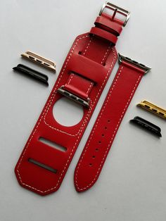Leather Apple Watch Band, Apple Watch Band 38mm, Apple Watch Band 42mm, Red leather Cuff with choice of Adapter size and color by BerryBoutiqueDesign on Etsy