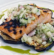 Grilled Brined Salmon and Eggplant with Fennel Cucumber Relish by Chef ...