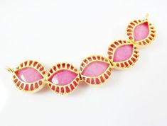 Evil Eye Necklace Collar Connector  Pink Jade  22K by LylaSupplies, $22.00