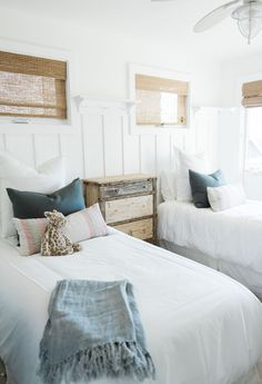 cottage style or lake house kids room twin beds guest room wainscoting Beach House Style, Beach Cottage Style, Beach Cottage Decor, Coastal Style, Coastal Decor, Coastal Cottage, Beach House Bedroom, Beach Room, Home Bedroom