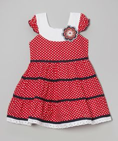 This Red Polka Dot Tiered Dress - Infant, Toddler & Girls by Roberto Toscani is perfect! #zulilyfinds