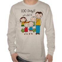 Red and blue text with 100 stars design on 100 Days Smarter T-shirts ...