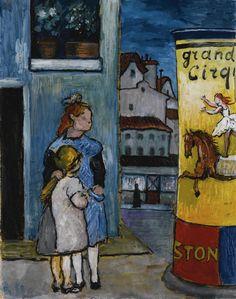 thusreluctant: Deux enfants devant un panneau d'affichage pour Grand Cirque de Marianne von Werefkin