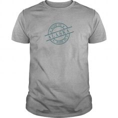 I Love Alaska Stamp Syle Loga Green Shirts & Tees