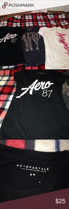 Doesn't want them Three barely worn T-shirts the white one is a medium gray and black one or both small the white one has no stains there's nothing wrong with it. All of them are in great condition very comfortable soft and fitting!! Aeropostale Tops Tees - Short Sleeve