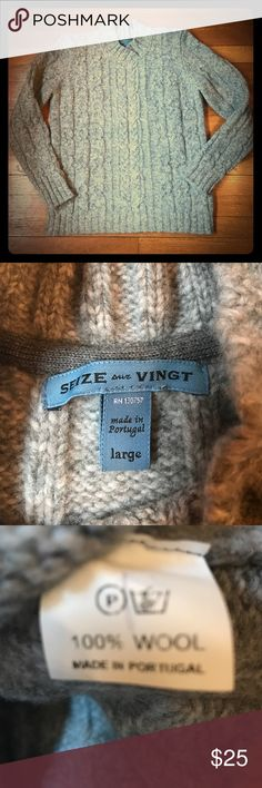 Seize Sur Vingt 100% Wool Gray Cable Knit Sweater This sweater is crazy comfy and stylish for your man!! In excellent condition. Seize Sur Vingt Sweaters