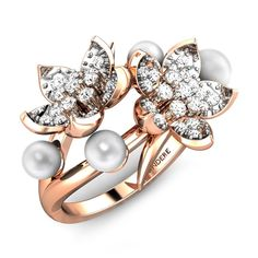 Two chrysanthemums along with pearls formed in a ring.#Gold #Diamonds #Floral… - http://amzn.to/2goDS3g