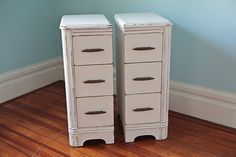 For each side of toilet ... narrow pair nightstands shabby chic white by VintageChicFurniture, $375.00