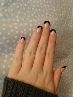 Black french tips nail art