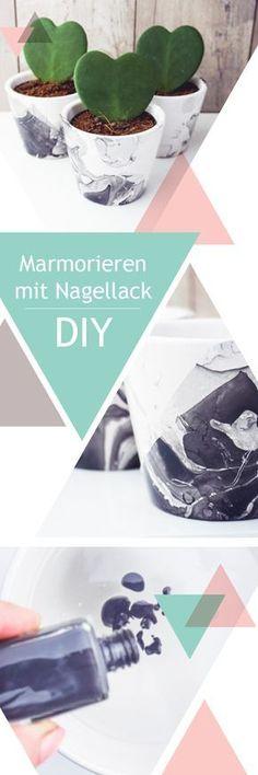 DIY   Marmorieren mit Nagellack – neue Blumentöpfe im schwarz-weiß Look