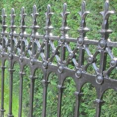 Stewart Cast Iron Fencing - Limited Stock on Full Height Railing and Half Height Railing. Victorian Fencing And Gates, Cast Iron, It Cast, Gate Post, Black Fence, Trellis, Fences, Usa, Gardening
