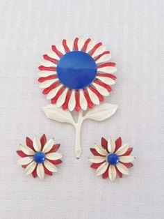 1960's Vintage Enamel Flower Brooch and Earring Set by MyVintageHatShop, $18.00