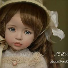 """Lily,  14""""- 40 cm, porcelain OOAK Doll, painted eyes,  by Laura Corti Dadatti (Dianna Effner's mold Brooke) @LCDolls1"""