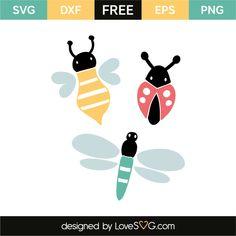 Bee, ladybug & dragonfly