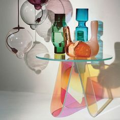 Acrylic End Table Clear Round Side Table Modern Accent Table Iridescent Kitchen Buffet Table, Sideboard Table, End Tables With Storage, Coffee Table With Storage, Modern End Tables, Small Tables, Living Room End Tables, Rectangle Area, Round Side Table