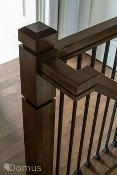 Modern staircase with square Zen posts black metal spindles and shoes / Modern Staircase Inspiration Wooden Staircase Railing, Interior Stair Railing, Rustic Staircase, Stair Railing Design, Metal Stairs, Stair Handrail, Modern Stairs, Staircase Ideas, Bannister