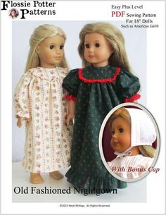 """Old Fashioned Nightgown 18"""" Dolls"""