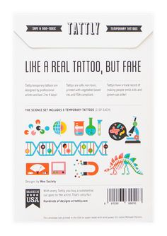 Science Set Real Tattoo, Fake Tattoos, Temporary Tattoos, Tattly Tattoos, Kid Stuff, Retail, Science, Gift Ideas, My Love